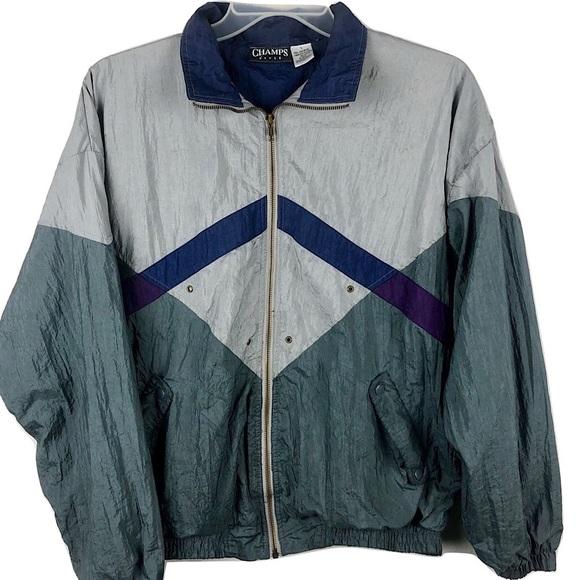 Vtg Champs Windbreaker Jacket Colorblock Mens L
